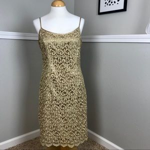 Onyx Nite Gold Champagne Slip Dress Size 12